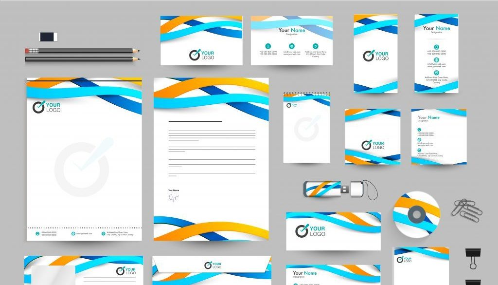 Business Kit with blue and yellow waves. Abstract Corporate Identity design with Letter Head, Business Card, Web Banner or Header and other objects.